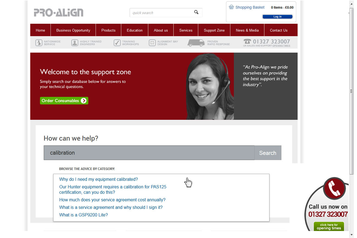 Pro-Align's Support Zone homepage