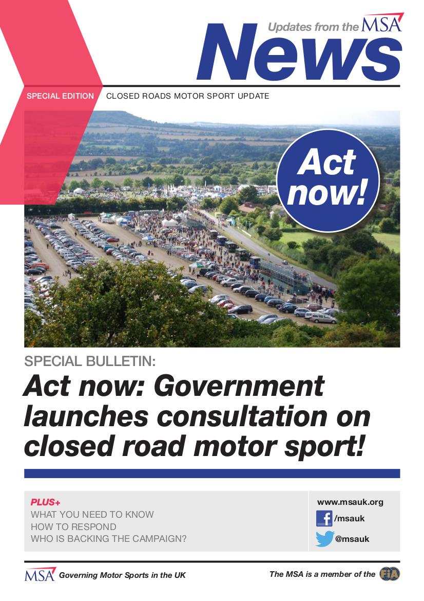 MSA Closed Road Motorsport newsletter