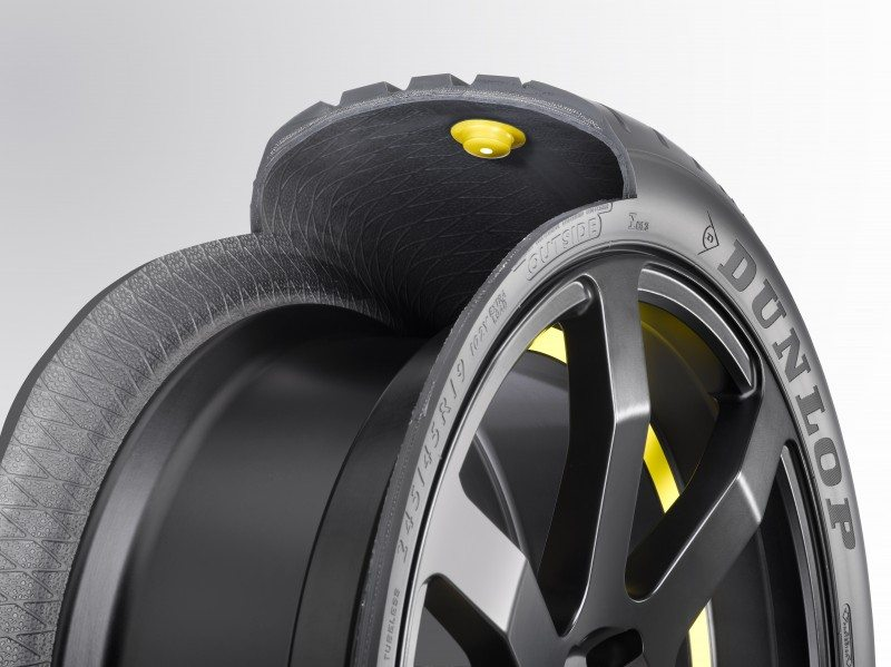 Goodyear Dunlop chip in tyre close up