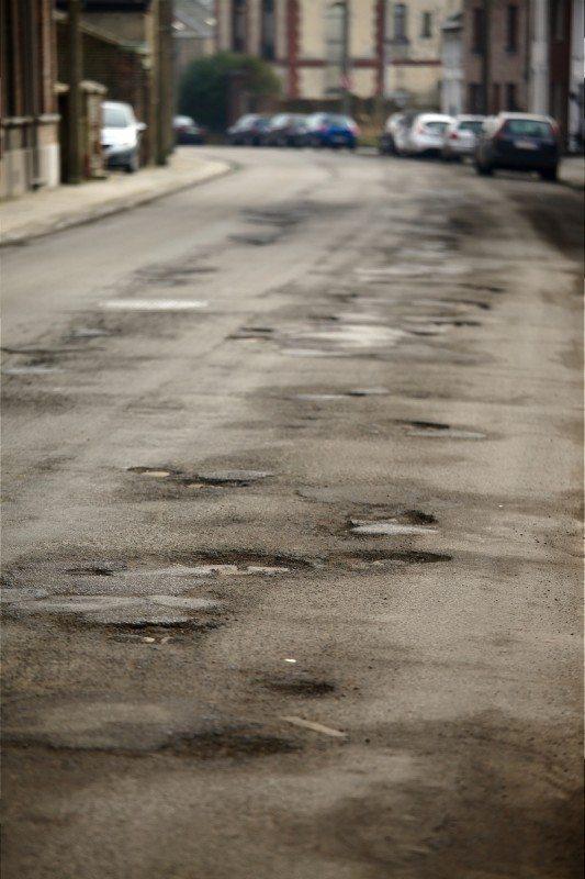 Potholes on British road