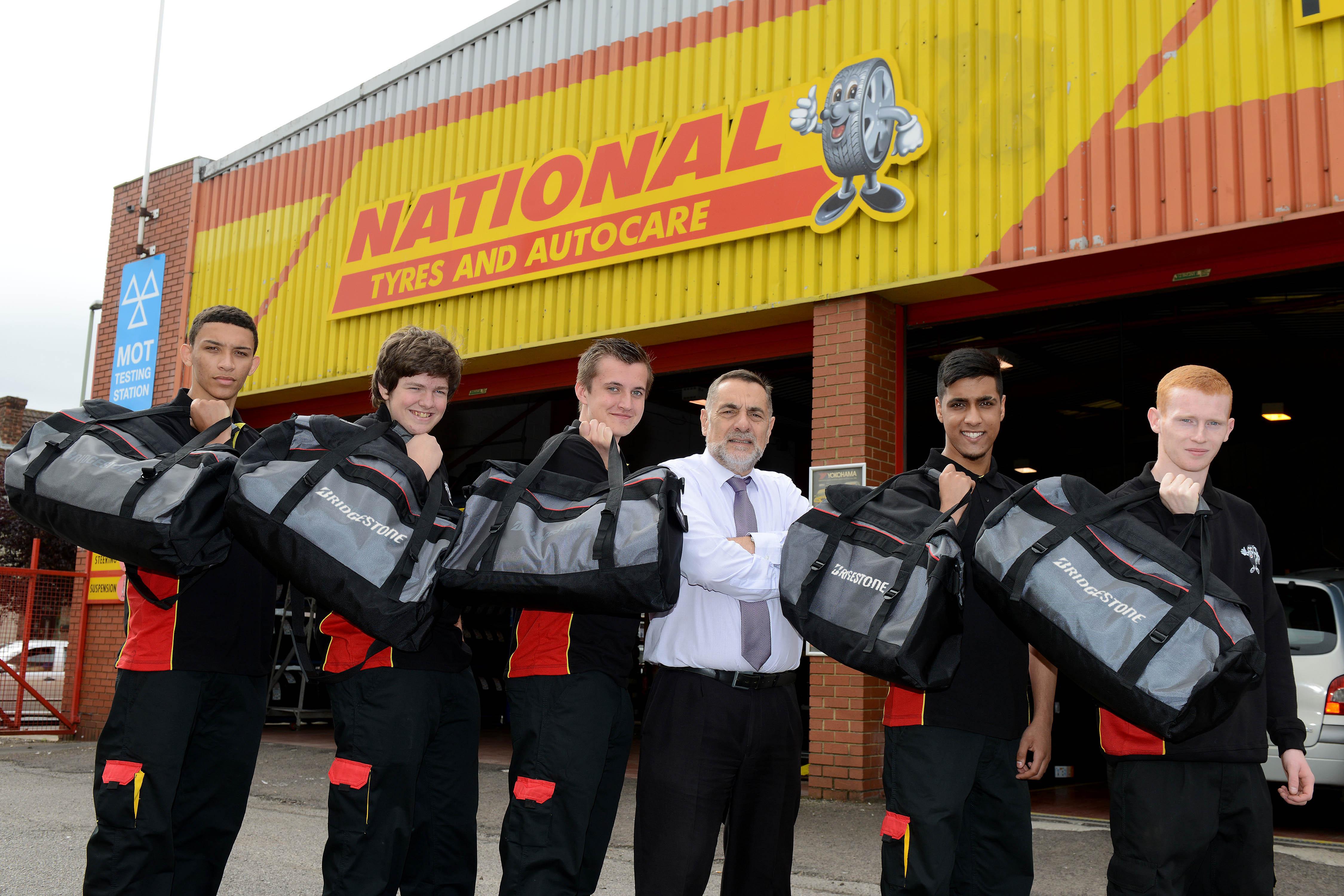 National Tyres apprentice Bridgestone 'tyre toolbags'