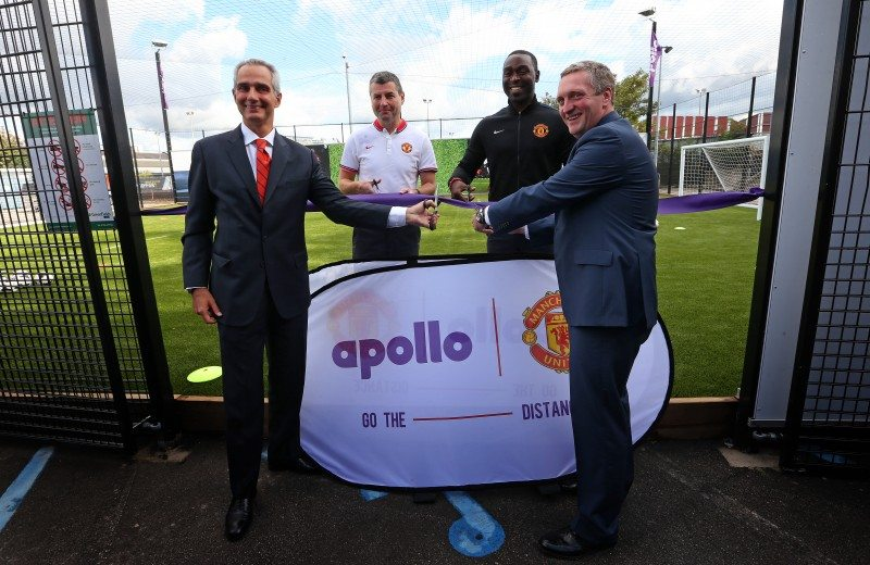 (from left to right):   Marco Paracciani (Apollo), Denis Irwin, Andrew Cole and Jonathan Rigby (Manchester United) opening the new recycled tyre rubber pitch at Old Trafford.