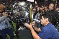 Maradona signs Pirelli tyre