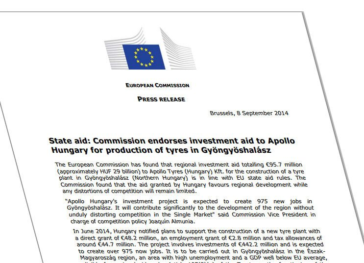 European Commission says Hungary to host Apollo's new tyre plant, endorses proposed investment