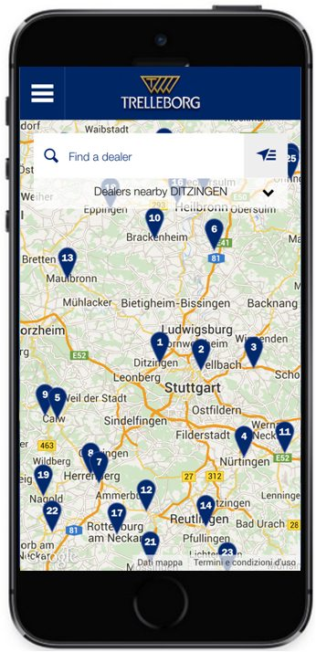 Trelleborg Dealer Locator launches on smartphones with 5,000 dealers