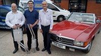Klarius exhaust sourced by ECP helps 1978 Mercedes 350SL convertible onto road