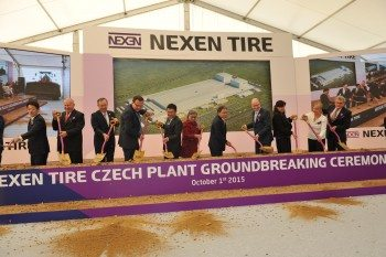 On the left of the picture Kenji Murai, CEO of ETEL Ltd (the holding company that owns both Kwik Fit and Stapleton's) can be clearly seen along with top representatives of all of Nexen customers in the EU. Going left to right, there's Nexen chairman B C Kang, president Travis Kang, Prime Minister of Czech Republic Bohuslav Sobotka  as well as other dignitaries