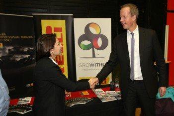 Pirelli's Neli Ciobanu from Pirelli meets Nick Boles MP, minister of state for skills, on the Pirelli stand