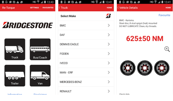 """Bridgestone says its Retorque app is """"the commercial motor industry's first ever re-torque safety app for all commercial vehicle operators"""""""