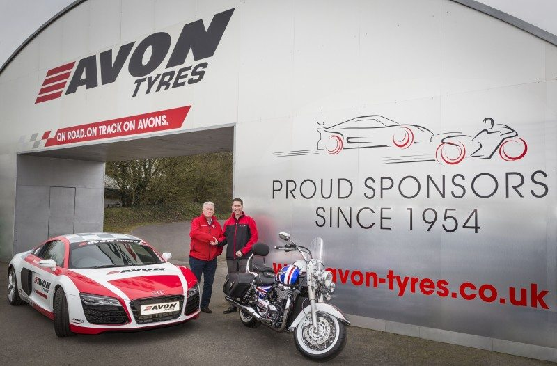 The 2016 revamp of the Avon bridge at Castle Combe is unveiled by Graham Marshallsay, MD of Castle Combe Circuit, and Jeff Schumaker, vice president of European operations & MD, Avon Tyres