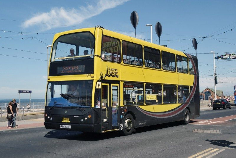 Blackpool Transport's 73 double-deckers (pictured) before Blackpool Promenade's 'dune grass' swaying sculpture