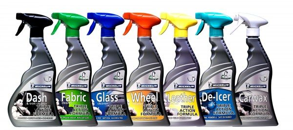 The new Michelin Lifestyle Car Care range includes: Wash & Wax (1 litre), Car Wax (500ml), De-Icer (500ml), Wheel Cleaner (500ml), Glass Cleaner (500ml), Dash Cleaner (500ml), Fabric Cleaner (500ml), Leather Cleaner (500ml).