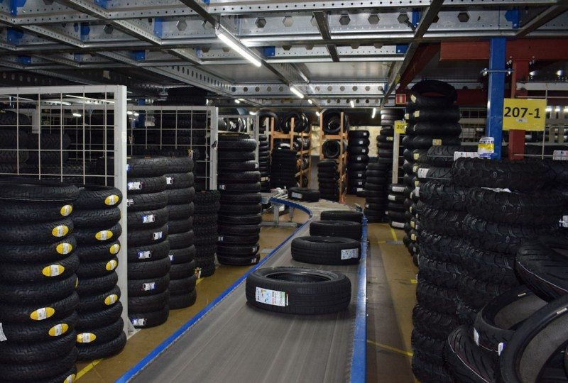 Car and two-wheel tyres make their way through the TTI warehouses on a 1.4 kilometre conveyor system