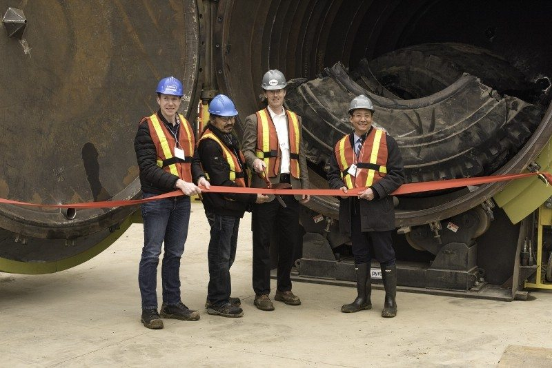 Cutting the ribbon on Titan Tire Reclamation on 29 March