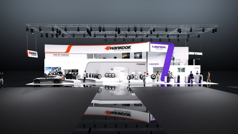 Hankook's stand focuses on its eponymously titled flag brand (and associated tyre and OEM business), but also includes a Laufen-branded section