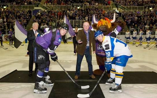 Autoparts UK group managing director, Craig McCracken drops the puck at Braehead Clan's final game of the season