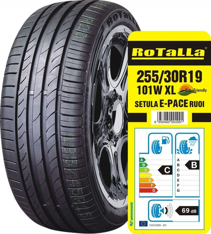 The 205/30 R19 101W XL Rotall Setula E-Pace RU01 boasts a CB 69 European tyre label score