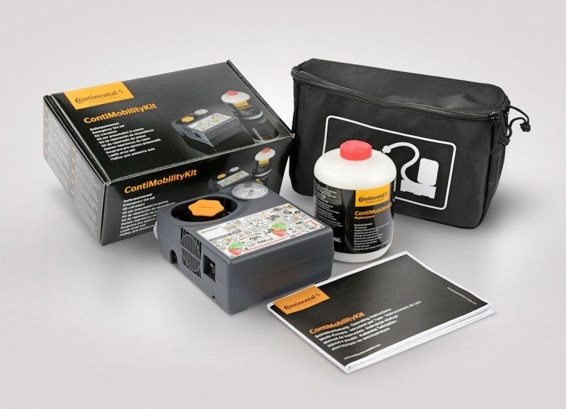 The ContiMobilityKit includes a 10-amp compressor, a pressure-resistant sealant bottle, plastic gloves and a user manual