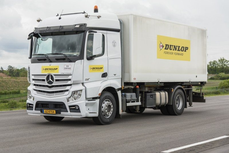 Dunlop launched its new range of on-road truck tyres in an event at the Goodyear Innovation Centre Luxembourg, including an on-track demonstration of the new range's handling stability