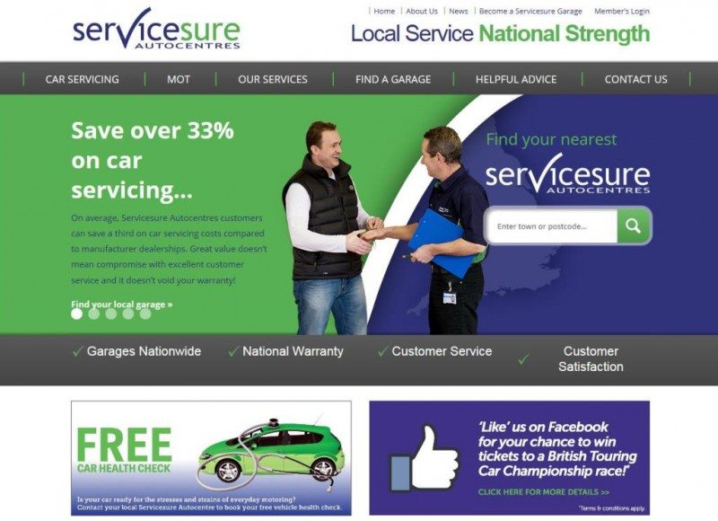 The new Servicesure Autocentres website