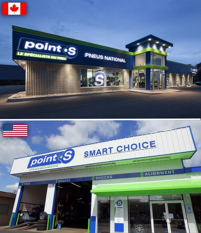 Point S is represented by the Unimax group in Canada and the Tire Factory group in the US