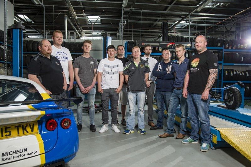 The group of 10 fitters selected from dealerships of the Michelin Certified Centre network were invited to the manufacturer's UK headquarters for the first Tyre Academy module. Pictured Philip Evans, Huw Lewis Tyres, Wales; Eilir Evans, Saracens Tyres, Cardiff; Liam Potts, Tanvic Tyres, East Midlands; Ryan Mallon, A One Tyres, County Down, Northern Ireland; Keith Darcy, Discount Tyre & Auto Service, Dublin, Ireland; Shane Farrell, Errancourt Traders, County Carlow, Ireland; Matt Dancer, BMTR, Birmingham; Kieran Mcleod, Jim's Garage, Shetland Islands; Andrew Frazer, Carryduff Tyres, County Down, Ireland; Nick Pierce, Crewe Tyres