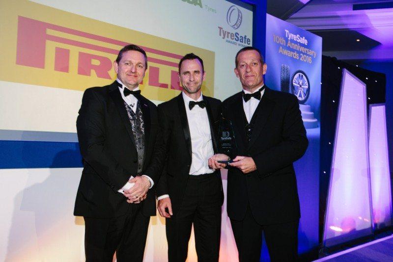 (Left to right) Stuart Jackson (TyreSafe), David Tyrer (Asda Tyres), Jason Sugden (Pirelli UK Sales Director)
