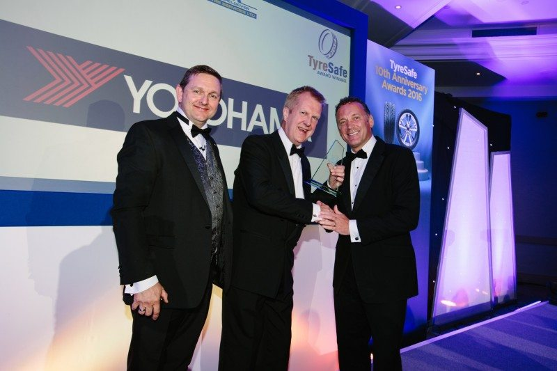 Yokohama HPT managing director David Seward (centre) receives the award.  Photo: Malcolm Griffiths