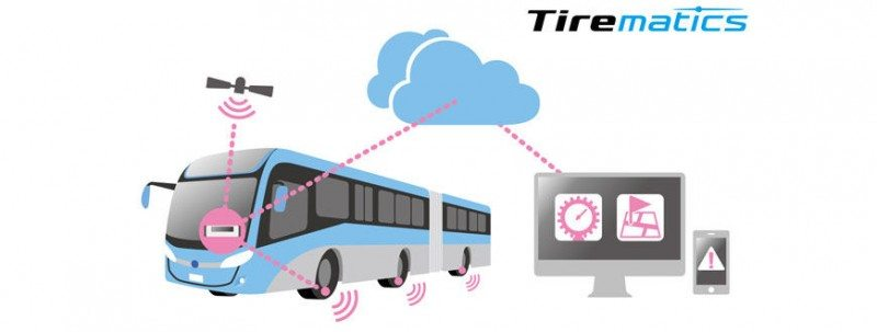 Tirematics uses sensors to measure tyre air pressure and temperature