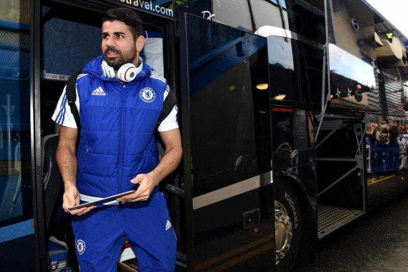 Chelsea striker Diego Costa exiting the team bus fitted with Yokohama 104ZR tyres