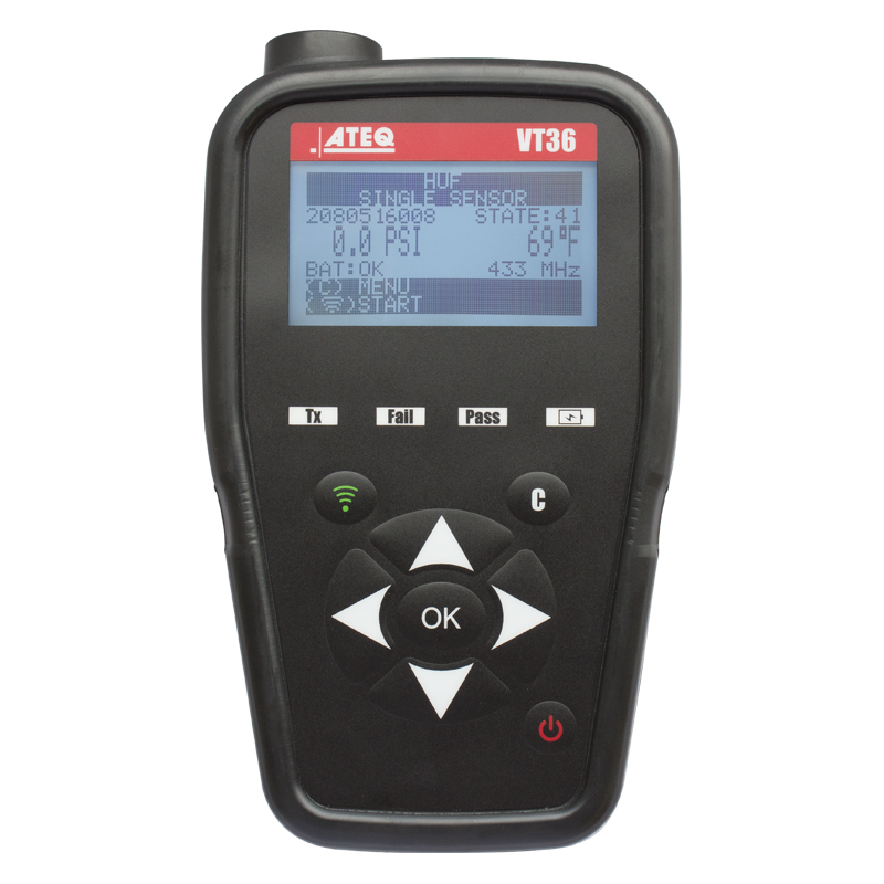 The VT36 offers features including: activating and reading TPMS sensors of all European and American vehicle brands; programing sensors; provides TPMS sensor, service kit and valve part numbers