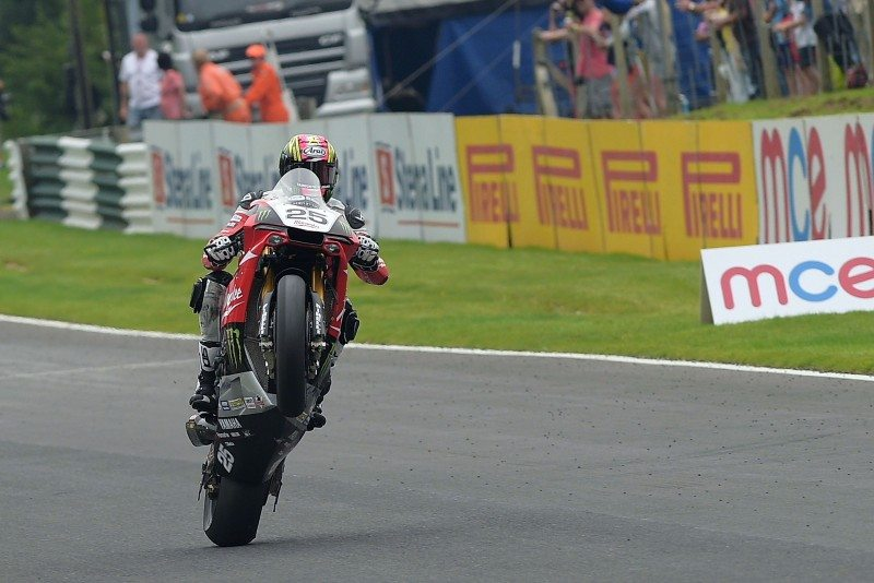 Josh Brookes celebrates winning at Cadwell Park in 2015