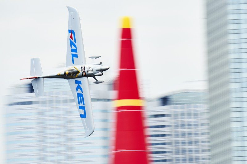 Yoshihide Muroya of Japan performs during the training of the third stage of the Red Bull Air Race World Championship in Chiba, Japan on June 3, 2016