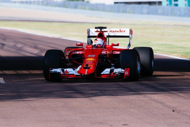 Sebastian Vettel is the first driver to test Pirelli's larger tyres for the 2017 season