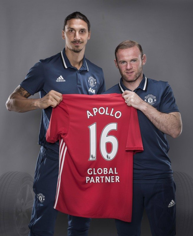 "For the next three years Apollo Tyres will be Man U's ""Global Tyre Partner"", as players Zlatan Ibrahimovic (left) and Wayne Rooney demonstrated"