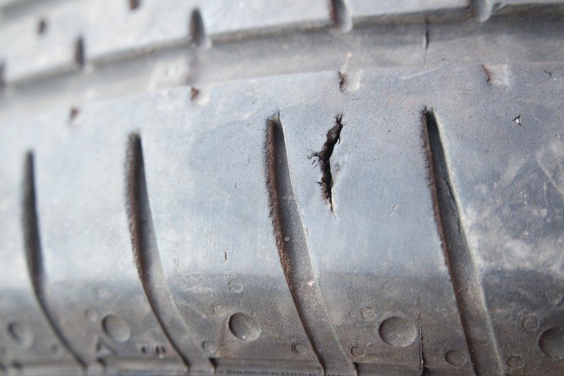 One of the tyres sold by Moss Tyres of Grantham with a deep cut