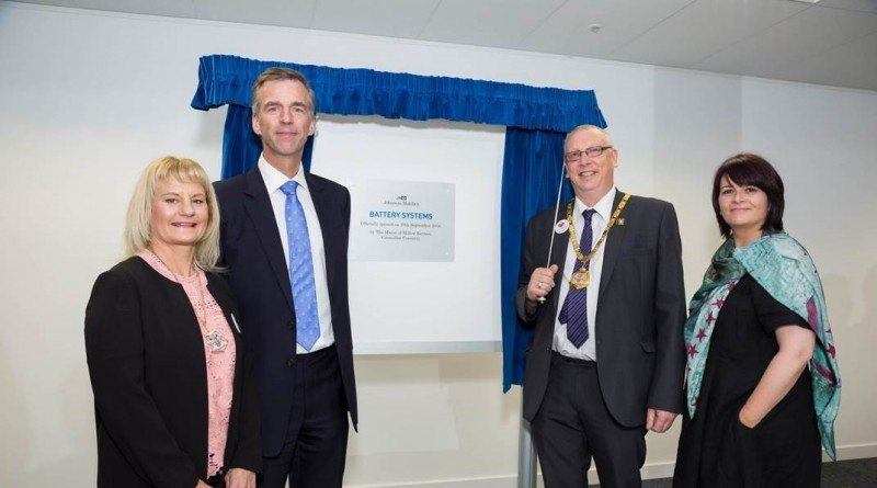 Plaque unveiling by the Lord Mayor of Milton Keynes, Councillor Coventry, the Lady Mayoress of Milton Keynes Ms Liane Lacey, Johnson Matthey CEO Robert MacLeod, and JMBSA general manager Anne Risse