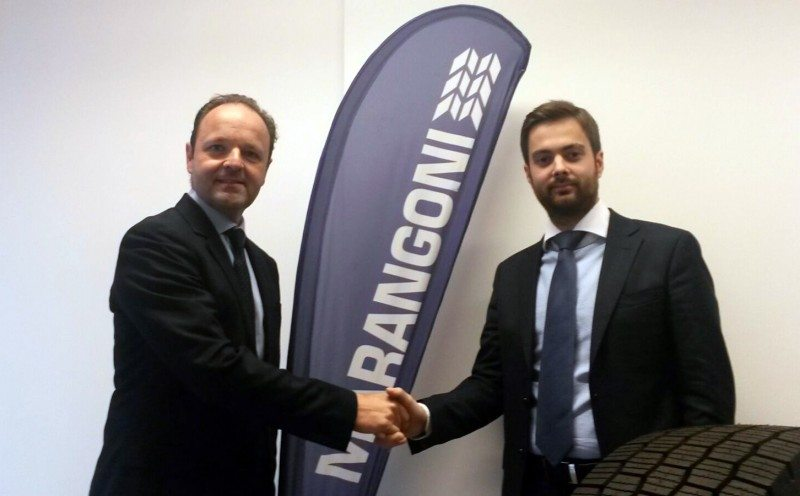 Dino Maggioni (l) is welcomed to the company by Vittorio Marangoni