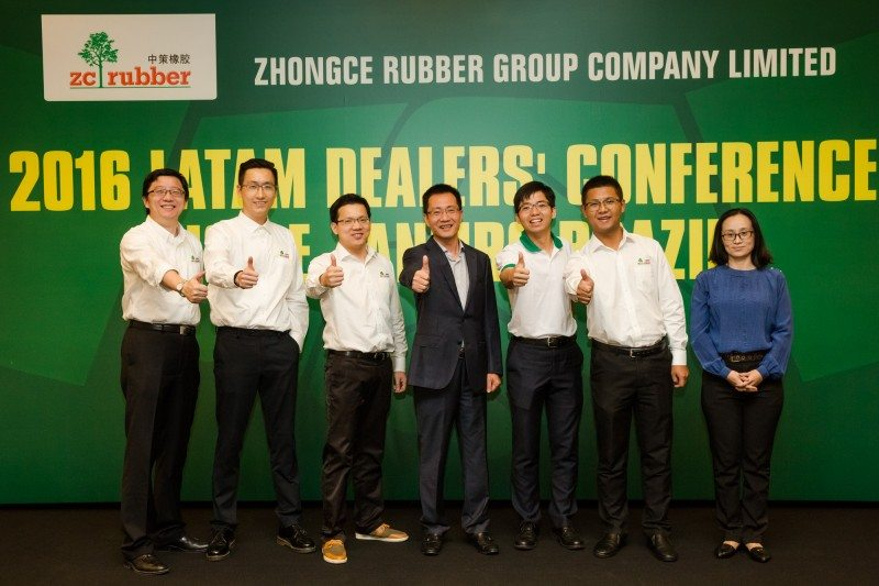 VP Ge Guorong (middle) with the ZC Rubber team in Brazil