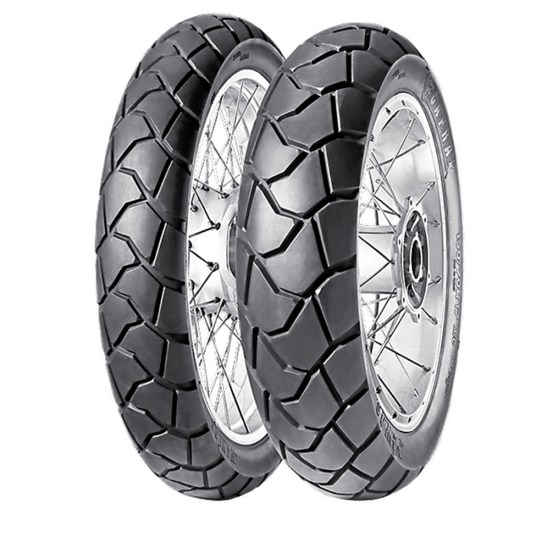 The Anlas Capra R (pictured) and Capra X adventure tyres come in sizes to fit many of the major big ADV bikes