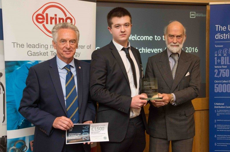 Andrew Gault receives his Outstanding Achievers Award from HRH Prince Michael of Kent (GCVO) and the bursary certificate from Brian Childs, the Fellowship's vice chairman