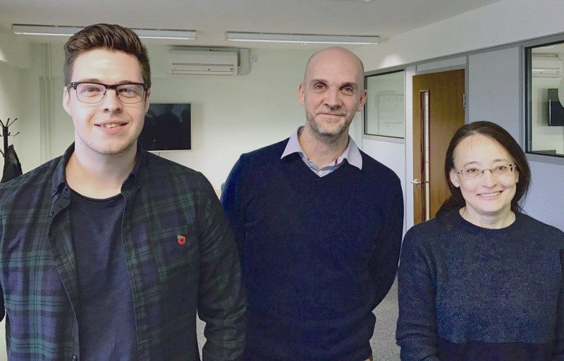 Technical delivery services team leader Shaun Keevil with new consultants Nick Baber (left) and Svitlana Kalmykova (right) at CAM HQ