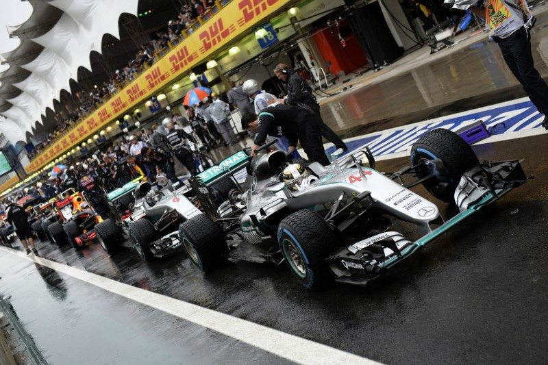 Hamilton and Rosberg completed the race using only the Pirelli Cinturato Blue full wet tyre