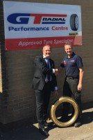 Giti celebrates half-millionth GT Radial FE1 sale with 'Golden Tyre' for UK dealer