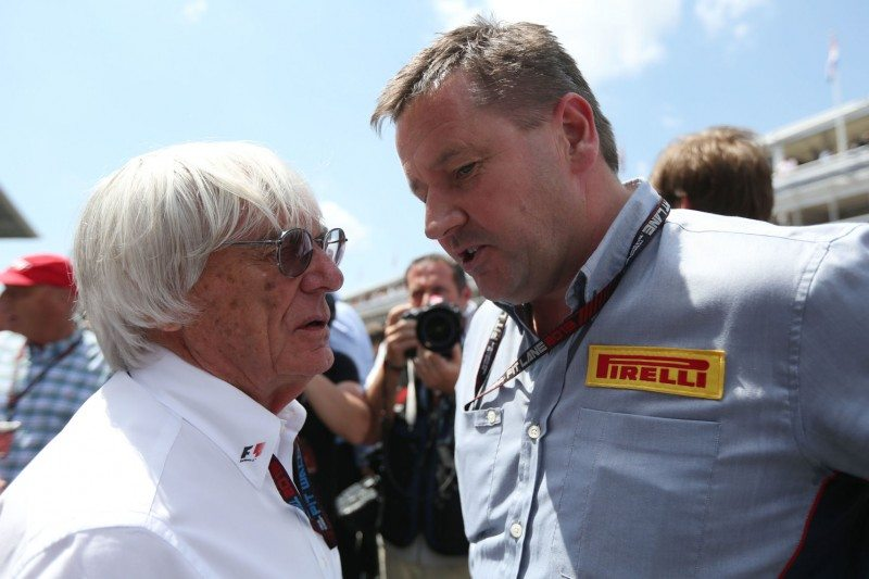 Bernie Ecclestone with Pirelli motorsport director Paul Hembery