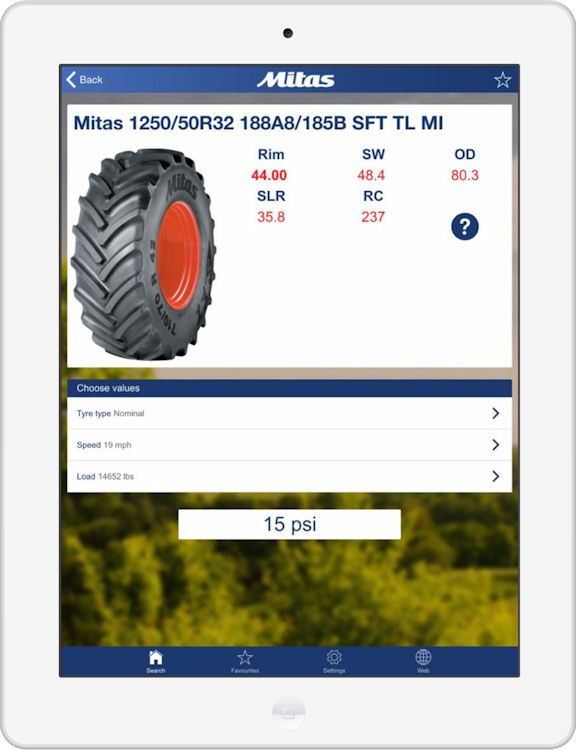 Users can obtain the recommended pressure for their tyres by entering just three parameters