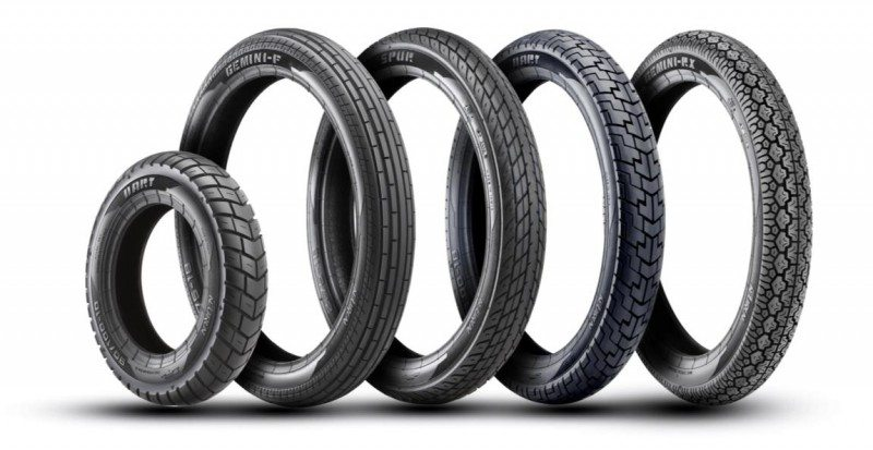 The initial Neurun range includes the Gemini F and Spur motorcycle front tyres, Gemini RX and Dart rear tyres and Dart scooter tyre