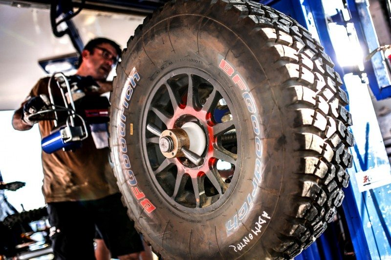Ready for action: a BFGoodrich tyre prior to fitment during the Dakar Rally (Photo Francois Flamand/DPPI)