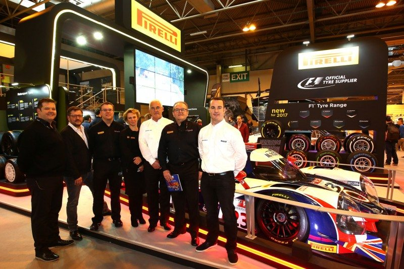 Bute Motorsport and Pirelli representatives pose by the 2017 LMP3 Cup Championship car