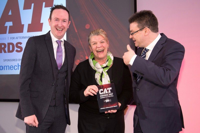Wendy Williamson receives her Lifetime Achievement award at the Car & Accessory Trader (CAT) Awards 2017